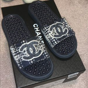 Chanel Tweed Navy Mule Slides from 2018